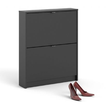 Shoes Shoe cabinet w. 2 tilting doors and 1 layer in Matt Black